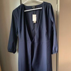 J crew wrap dress in 365 crepe in navy